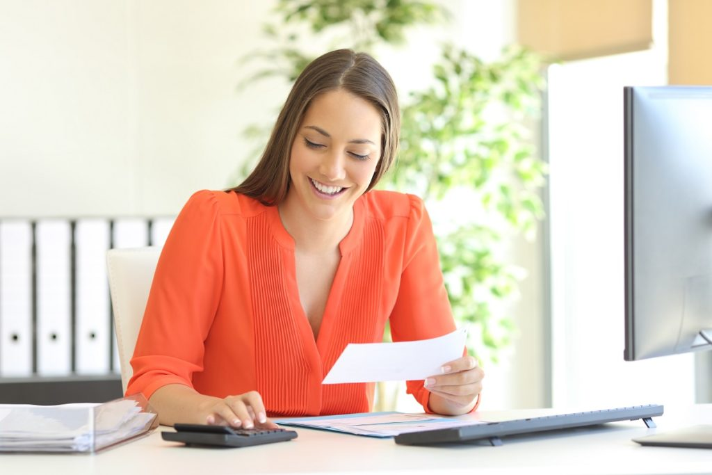 woman computing bills