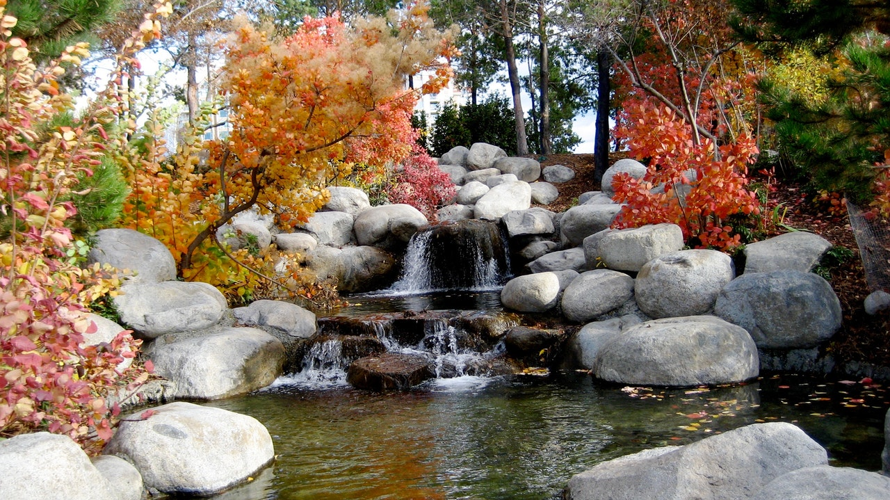 a small waterfall on a garden
